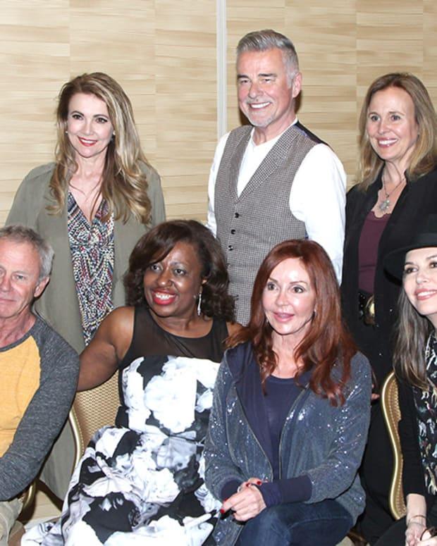 Back row: Emma Samms, Ian Buchan, Genie Francis Front row: Tritan Rogers, fan, Jackie Zeman, Finola Hughes