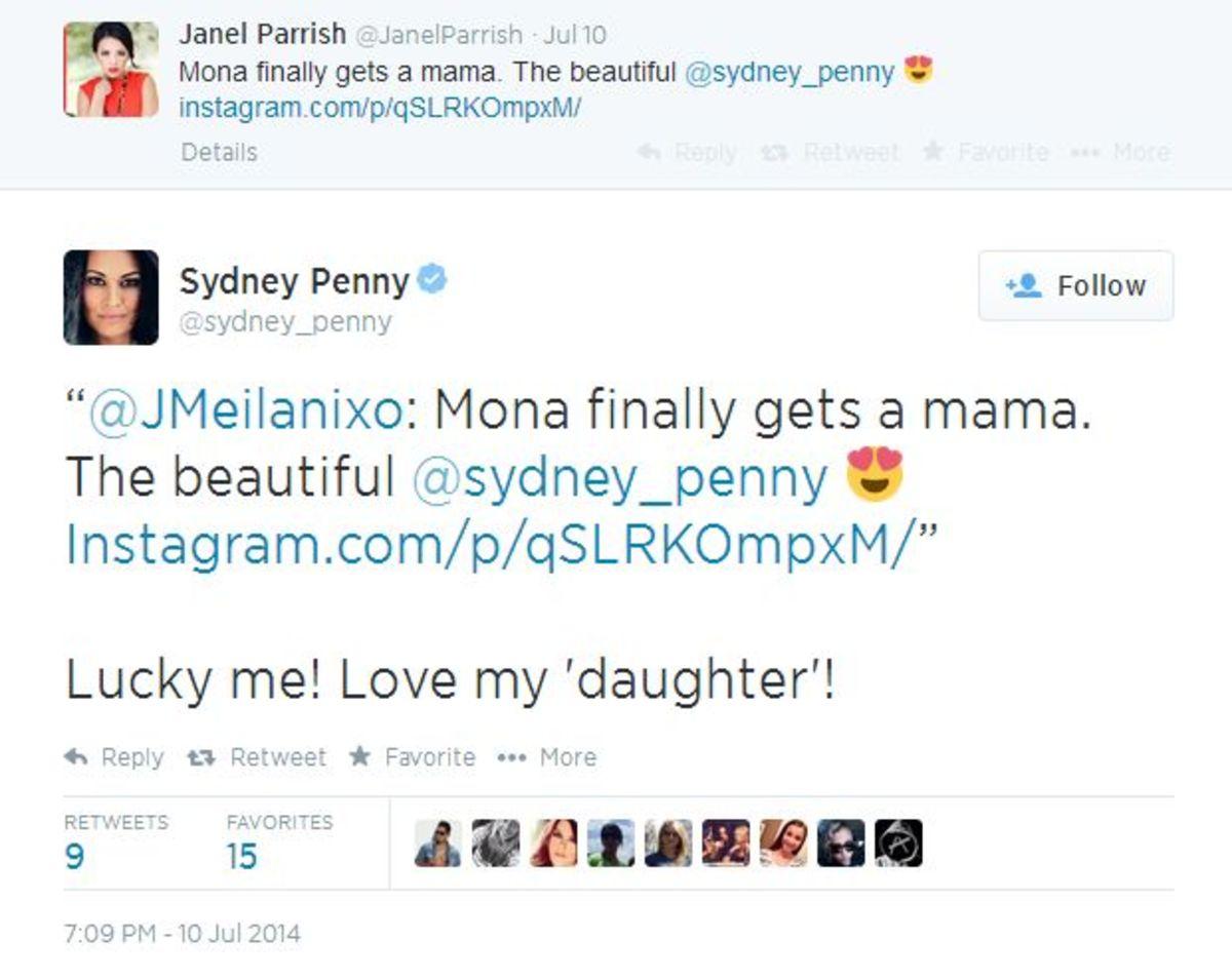 Sydney Penny, Janel Parrish, twitter