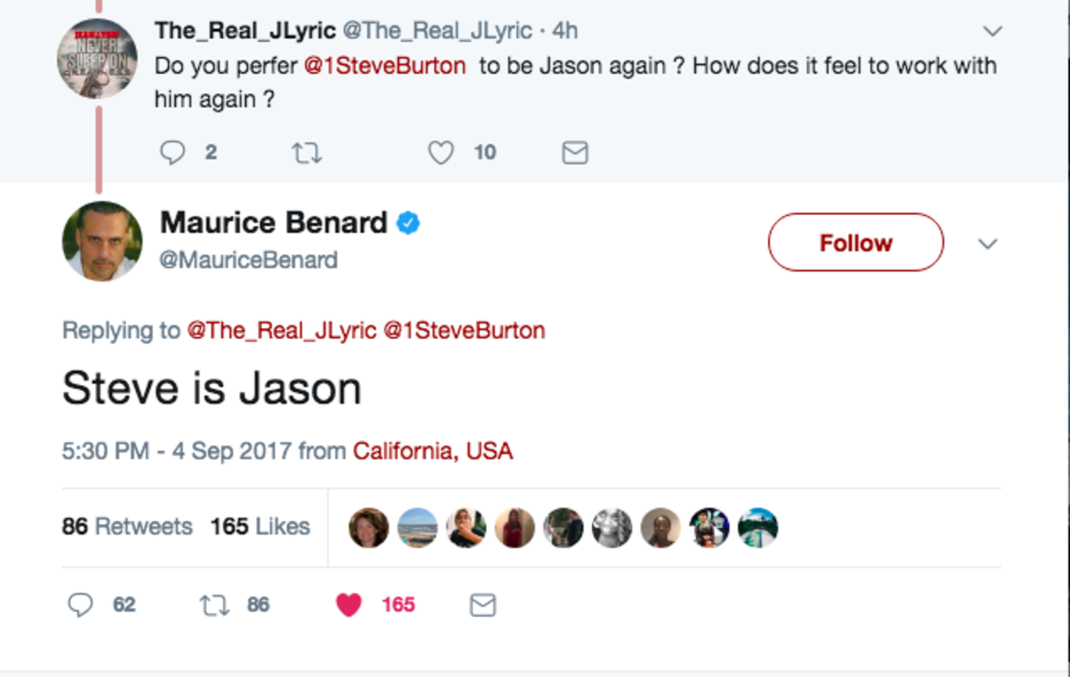 Maurice Benard Tweet on Jason/Stee Burton